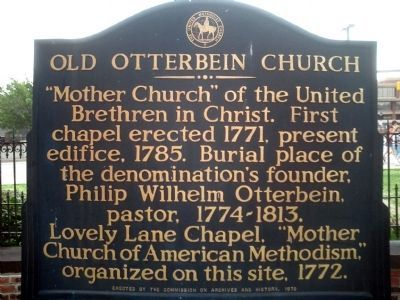 Old Otterbein Church Marker image. Click for full size.