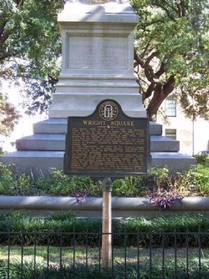 Wright Square Marker, Gordon Monument in background image. Click for full size.