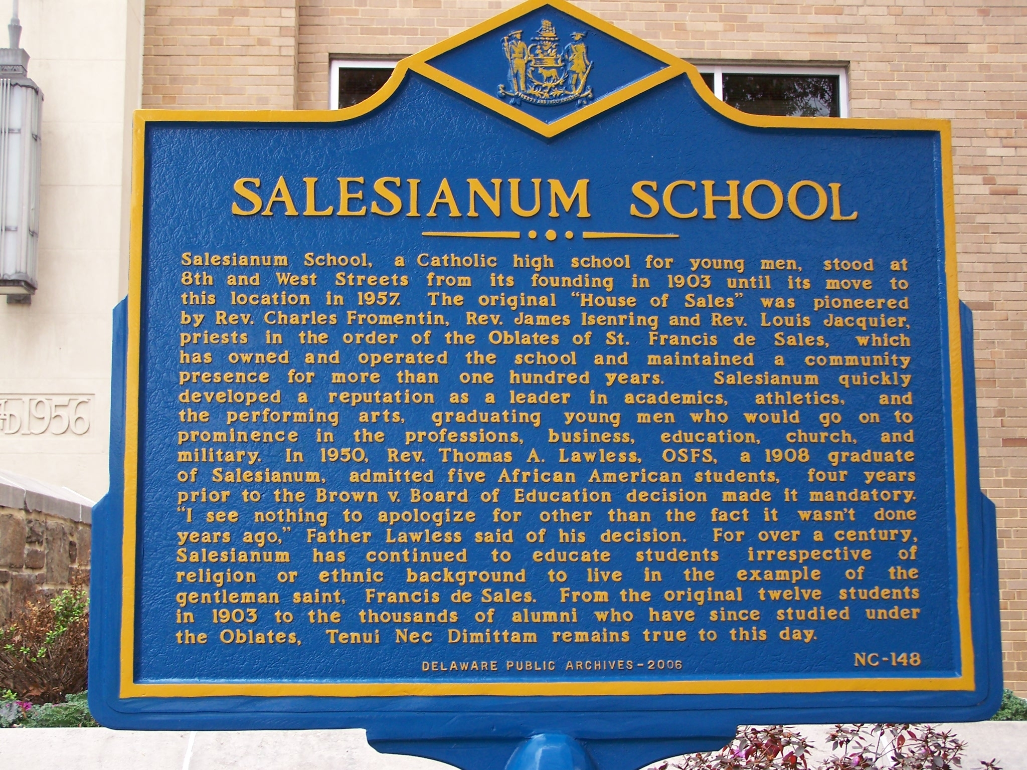 Salesianum School Marker