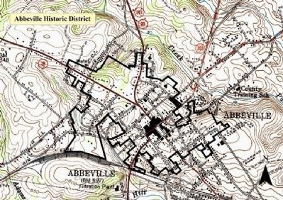 Map of the Abbeville Historic District, Including the Square image. Click for full size.
