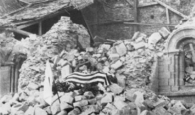 Howie's Flag Drapped Coffin on the Rubble of St. Croix Church image. Click for full size.