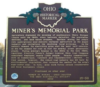 Miner's Memorial Park Marker (side A) image. Click for full size.
