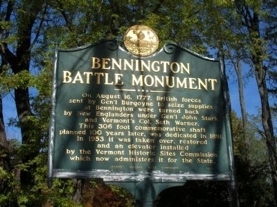 Bennington Battle Monument Marker image. Click for full size.