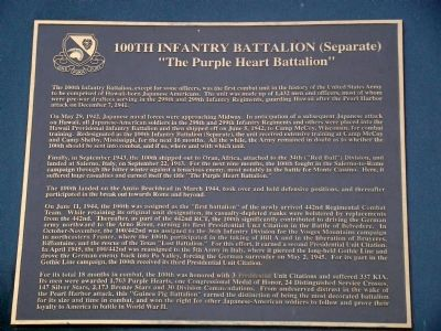 100th Infantry Battalion (Separate) Tablet image. Click for full size.