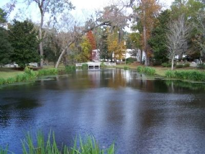 St. Andrew's Parish Church , a pond nearby the church cemetery along SC 61 image. Click for full size.