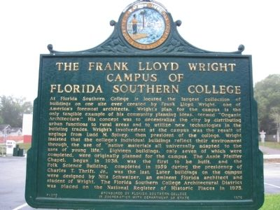 The Frank Lloyd Wright Campus of Florida Southern College Marker image. Click for full size.