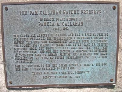 The Pam Callahan Nature Preserve Marker image. Click for full size.