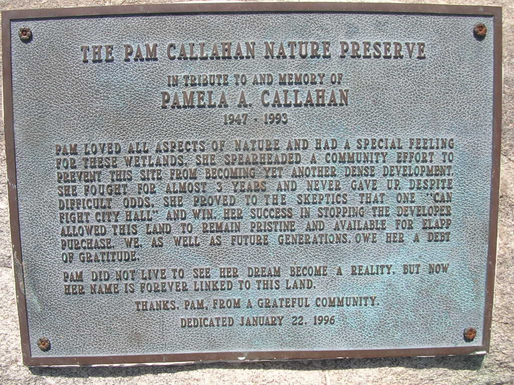 The Pam Callahan Nature Preserve Marker