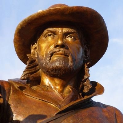 Jim Bridger sculpture detail image. Click for full size.