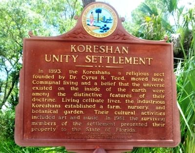 Koreshan Unity Settlement Marker image. Click for full size.