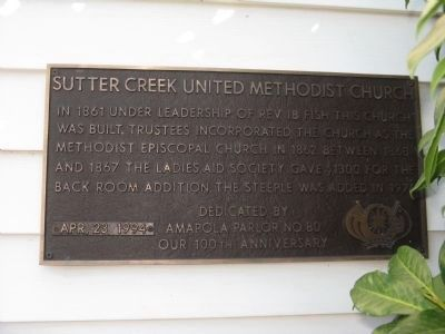 Sutter Creek United Methodist Church Marker image. Click for full size.