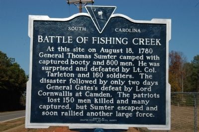 Battle of Fishing Creek Marker image. Click for full size.