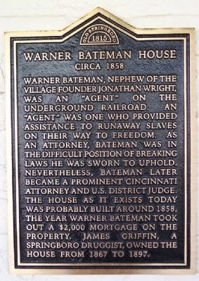 Warner Bateman House Marker image. Click for full size.