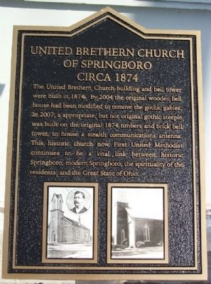 United Brethren Church of Springboro Marker image. Click for full size.