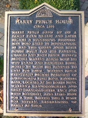 Harry Pence House Marker image. Click for full size.