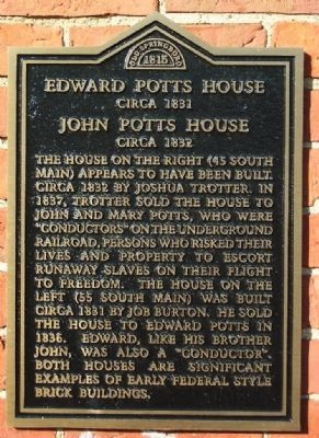 Edward Potts House / John Potts House Marker image. Click for full size.
