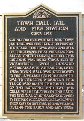 Town Hall, Jail, and Fire Station Marker image. Click for full size.