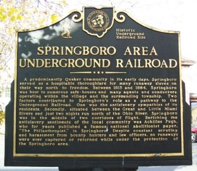 Springboro Area Underground Railroad Marker image. Click for full size.