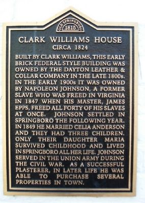 Clark Williams House Marker image. Click for full size.