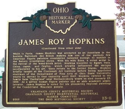 James Roy Hopkins Marker (side B) image. Click for full size.