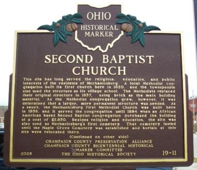 Second Baptist Church Marker (side A) image. Click for full size.