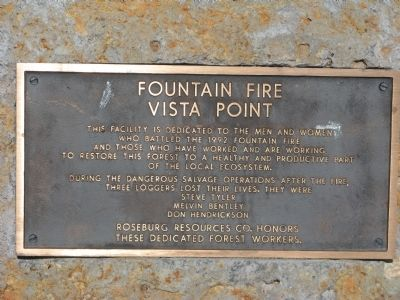 Fountain Fire Vista Point Marker image. Click for full size.