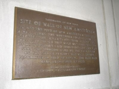 Site of the Wall of New Amsterdam Marker image. Click for full size.