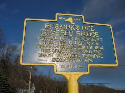 Buskirk's Red Covered Bridge Marker - Near Buskirk, New York image. Click for full size.