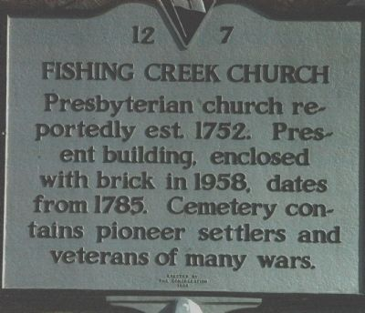 Fishing Creek Church Marker image. Click for full size.