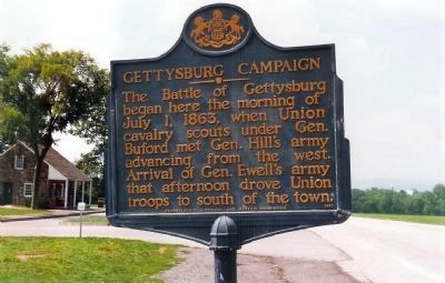 Gettysburg Campaign Marker,looking northwest along Chambersburg Pike (U.S. 30), image. Click for full size.