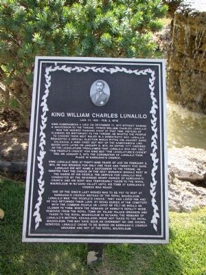 King William Charles Lunalilo Marker image. Click for full size.