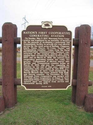 Nation's First Cooperative Generating Station Marker image. Click for full size.