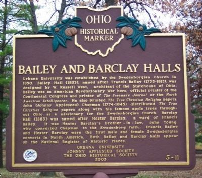 Bailey and Barclay Halls Marker (side A) image. Click for full size.