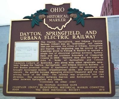 Dayton, Springfield, and Urbana Electric Railway Marker </b>(front) image. Click for full size.