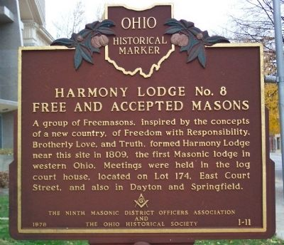 Harmony Lodge No. 8 Free and Accepted Masons Marker image. Click for full size.