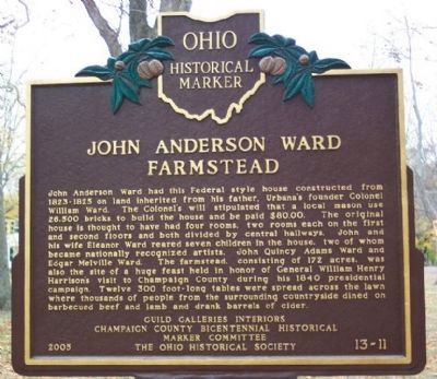 John Anderson Ward Farmstead Marker (side A) image. Click for full size.