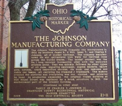 The Johnson Manufacturing Company Marker (side A) image. Click for full size.