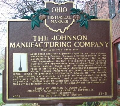 The Johnson Manufacturing Company Marker (side B) image. Click for full size.