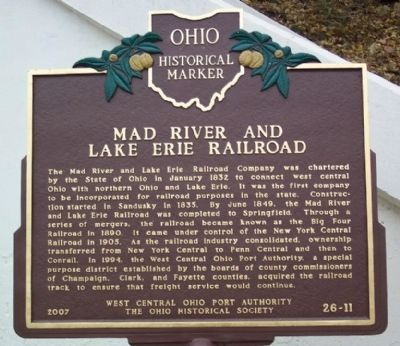 Mad River and Lake Erie Railroad Marker image. Click for full size.