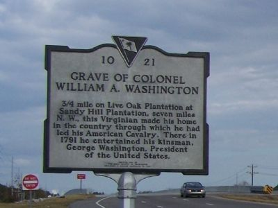 Grave Of Colonel William A. Washington Marker image. Click for full size.
