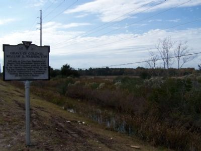 Grave Of Colonel William A. Washington Marker, amid marshland, onetime Plantation lands image. Click for full size.