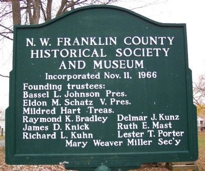 N.W. Franklin County Historical Society and Museum Marker image. Click for full size.