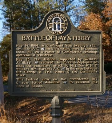 Battle of Lay's Ferry Marker image. Click for full size.