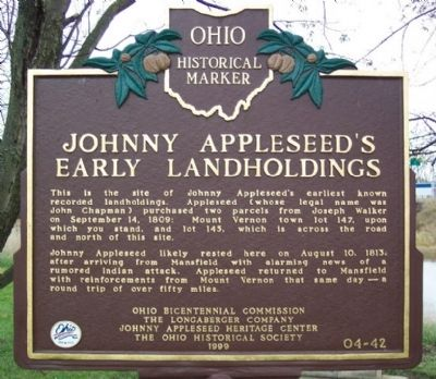 Johnny Appleseed's Early Landholdings Marker image. Click for full size.