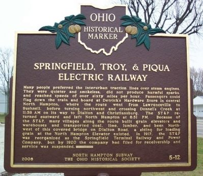 Springfield, Troy, & Piqua Electric Railway Marker </b>(reverse) image. Click for full size.