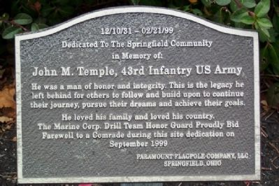 John M. Temple Memorial Marker image. Click for full size.