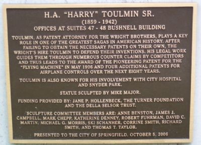 "H. A. ""Harry"" Toulmin Sr. Marker image. Click for full size."