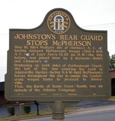 Johnston's Rear Guard Stops McPherson Marker image. Click for full size.