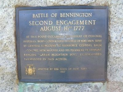 Battle of Bennington - Second Engagement Marker - Walloomsac, New York image. Click for full size.