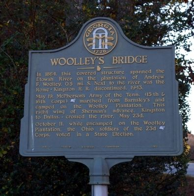 Woolley's Bridge Marker image. Click for full size.